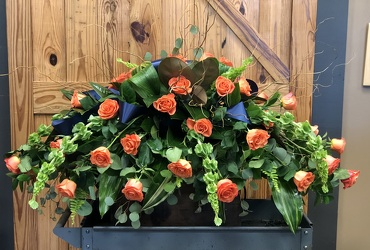 Orange Roses Casket Blanket from Martha Mae's Floral & Gifts in McDonough, GA