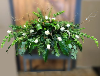 Mixed Foliage Casket Cover from Martha Mae's Floral & Gifts in Stockbridge, GA