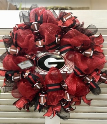 UGA Door Wreath  from Martha Mae's Floral & Gifts in McDonough, GA